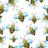 Modelo inconsútil de la abeja linda en el fondo blanco Fotografía de archivo