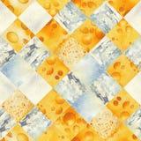Modelo inconsútil de la acuarela abstracta de rebanadas cortadas de queso Ilustración del Vector