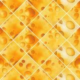 Modelo inconsútil de la acuarela abstracta de rebanadas cortadas de queso Stock de ilustración