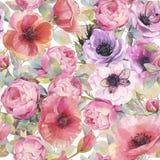 Modelo inconsútil de la acuarela con las flores, las anémonas, las amapolas, las rosas y las mariposas Papel pintado botánico rom stock de ilustración