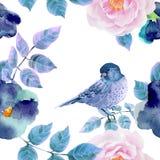 Modelo inconsútil de la acuarela con las flores y los pájaros Fotos de archivo