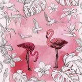 Modelo inconsútil de la acuarela con las flores y los pájaros tropicales del flamenco libre illustration