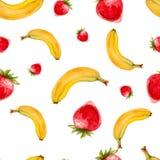 Modelo inconsútil de la acuarela con las fresas y los plátanos Foto de archivo