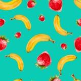 Modelo inconsútil de la acuarela con las fresas y los plátanos Fotos de archivo libres de regalías