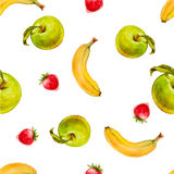 Modelo inconsútil de la acuarela con las manzanas, las fresas y los plátanos verdes Fotografía de archivo libre de regalías