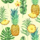 Modelo inconsútil de la acuarela con las piñas, las hojas tropicales, y las flores en fondo amarillo ilustración del vector