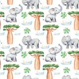 Modelo inconsútil de la acuarela con los árboles y los animales africanos libre illustration