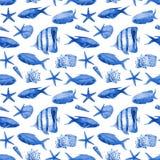 Modelo inconsútil de la acuarela con los objetos subacuáticos de la vida libre illustration