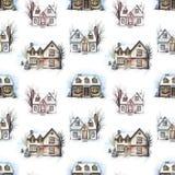 Modelo inconsútil de la acuarela con tres casas del invierno libre illustration
