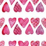 Modelo inconsútil de la acuarela de corazones libre illustration