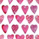 Modelo inconsútil de la acuarela de corazones ilustración del vector