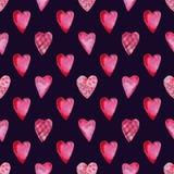 Modelo inconsútil de la acuarela de corazones stock de ilustración
