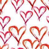 Modelo inconsútil de la acuarela Corazones rojos dibujados mano para Valentin Foto de archivo
