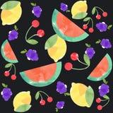 Modelo inconsútil de la acuarela de frutas tropicales Foto de archivo