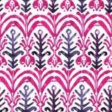 Modelo inconsútil de la acuarela de Ikat Watercolour vibrante floral fotografía de archivo libre de regalías