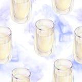 Modelo inconsútil de la acuarela de la lechería con un vidrio de leche libre illustration