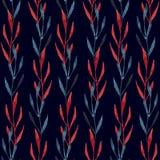 Modelo inconsútil de la acuarela de las hojas azules y del rojo Foto de archivo libre de regalías