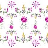 Modelo inconsútil de la acuarela de wildflowers Foto de archivo libre de regalías