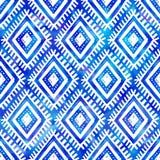 Modelo inconsútil de la acuarela del añil del color del vector tribal azul del estilo ilustración del vector