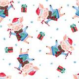 Modelo inconsútil de la acuarela del Año Nuevo con los cerdos, los regalos de la Navidad y los copos de nieve lindos ilustración del vector