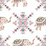 Modelo inconsútil de la acuarela del elefante indio stock de ilustración