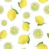 Modelo inconsútil de la acuarela del limón y de la cal, aislado del fondo Conveniente para las materias textiles, impresión en ca stock de ilustración