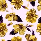 Modelo inconsútil de la acuarela Ejemplo pintado a mano de hojas y de flores tropicales Adorno tropical del verano con el modelo  Foto de archivo libre de regalías