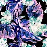 Modelo inconsútil de la acuarela Ejemplo pintado a mano de hojas y de flores tropicales Adorno tropical del verano con el modelo  Imagen de archivo