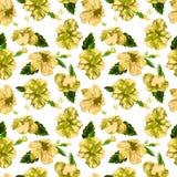 Modelo inconsútil de la acuarela Ejemplo pintado a mano de hojas y de flores tropicales Adorno tropical del verano con el modelo  Fotografía de archivo libre de regalías