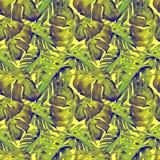 Modelo inconsútil de la acuarela Ejemplo pintado a mano de hojas y de flores tropicales Adorno tropical del verano con Liana Patt Imagenes de archivo