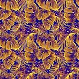 Modelo inconsútil de la acuarela Ejemplo pintado a mano de hojas y de flores tropicales Adorno tropical del verano con Liana Patt Imagen de archivo
