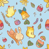 Modelo inconsútil de la acuarela en el tema de Pascua Fondo de Pascua con el conejito, los polluelos, los huevos y las flores imagen de archivo libre de regalías