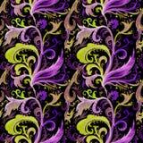 Modelo inconsútil de la acuarela exhausta del extracto de la mano con el ornamento floral de la cal, del verde y violeta, rizos,  stock de ilustración