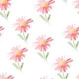 Modelo inconsútil de la acuarela floral Textura repetidor con las flores aisladas en el fondo blanco Fotos de archivo