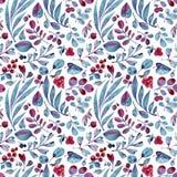 Modelo inconsútil de la acuarela Hojas de Differend y bayas azules y rosadas en el fondo blanco Imágenes de archivo libres de regalías