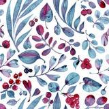Modelo inconsútil de la acuarela Hojas de Differend y bayas azules y rosadas en el fondo blanco Fotografía de archivo libre de regalías