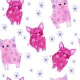Modelo inconsútil de la acuarela de los copos de nieve y de los cerdos en el fondo blanco stock de ilustración