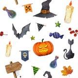 Modelo inconsútil de la acuarela de los elementos de Halloween Foto de archivo libre de regalías
