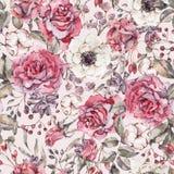 Modelo inconsútil de la acuarela de la naturaleza con la rosa, anémona, algodón ilustración del vector