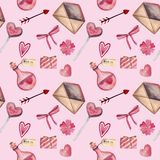 Modelo inconsútil de la acuarela para el día de tarjeta del día de San Valentín con el corazón, llave, cerradura, arco, sobre, am ilustración del vector