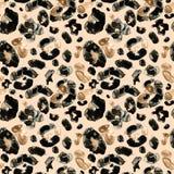 Modelo inconsútil de la acuarela de la piel marrón pintada a mano de moda del leopardo en fondo beige Impresi?n ex?tica animal de stock de ilustración
