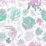 Modelo inconsútil de la alga marina Las plantas marinas siluetean textura Papel pintado sin fin del vector del quelpo del mar stock de ilustración