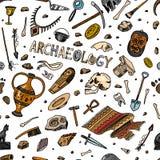 Modelo inconsútil de la arqueología Herramientas y equipo de la ciencia, artefactos en estilo del vintage Fósiles y antiguo excav stock de ilustración
