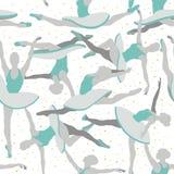 Modelo inconsútil de la bailarina del vector en azul y gris stock de ilustración