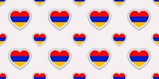 Modelo inconsútil de la bandera de Armenia El armenio del vector señala etiquetas engomadas por medio de una bandera Símbolos de  stock de ilustración