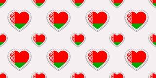 Modelo inconsútil de la bandera de Bielorrusia Stikers bielorrusos de las banderas del vector Símbolos de los corazones del amor  stock de ilustración