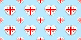 Modelo inconsútil de la bandera de Georgia Stikers georgianos de las banderas del vector Símbolos de los corazones del amor Fondo stock de ilustración