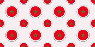 Modelo inconsútil de la bandera redonda de Marruecos Fondo marroquí Iconos del círculo del vector Símbolos geométricos Textura pa libre illustration
