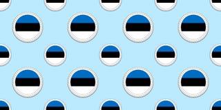 Modelo inconsútil de la bandera de la ronda de Estonia fondo estonio Iconos del círculo del vector Símbolos geométricos Textura p libre illustration