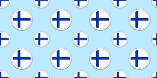 Modelo inconsútil de la bandera de la ronda de Finlandia Fondo del finlandés Iconos del círculo del vector Símbolos geométricos T libre illustration